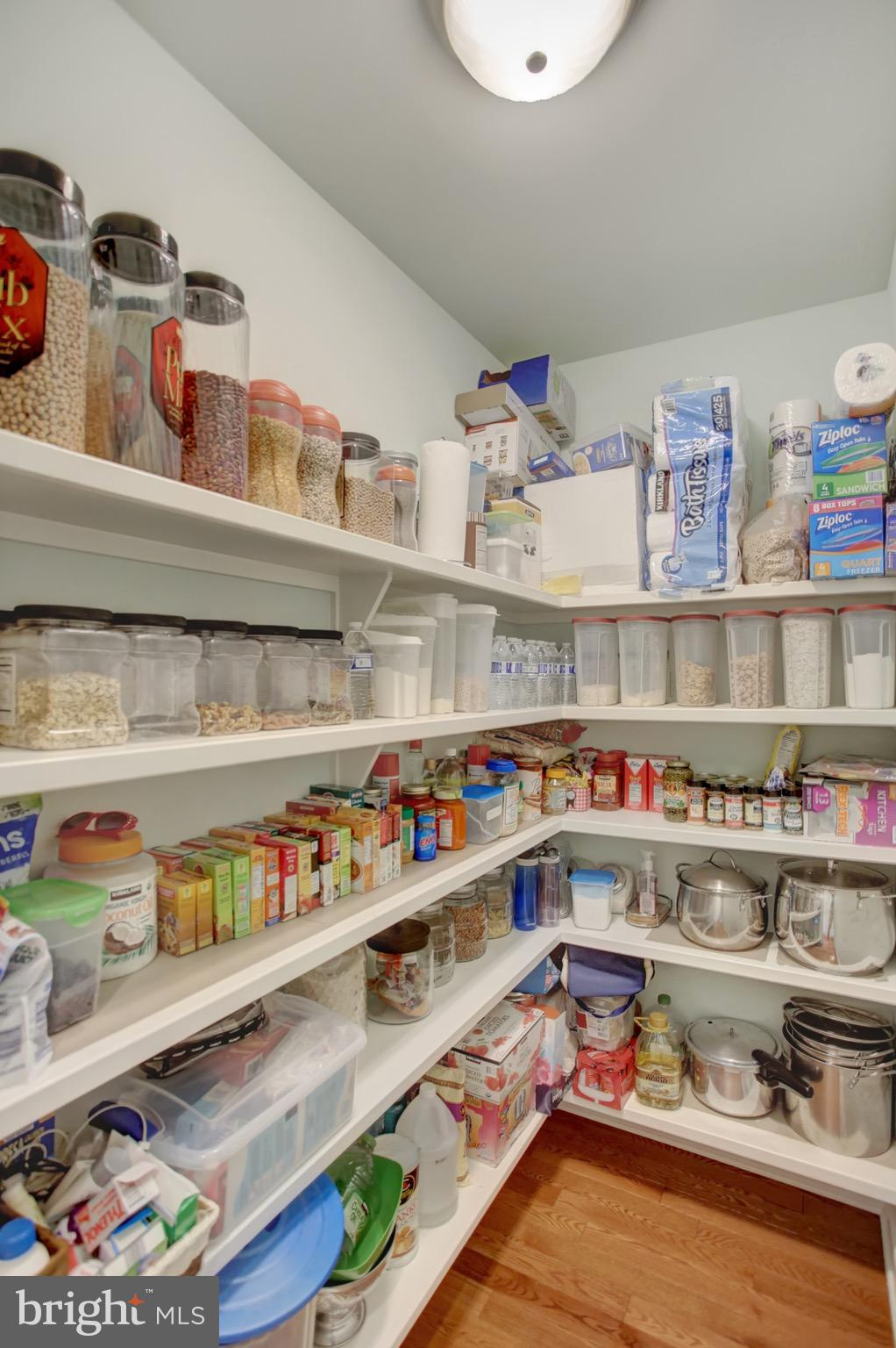 Large kitchen pantry with custom shelves.