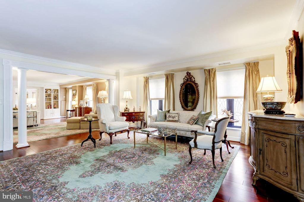 Living Room looking toward Family Room - 1080 WISCONSIN AVE NW #103/104, WASHINGTON