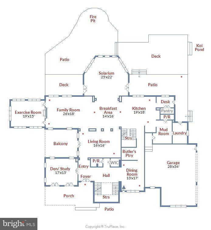 Main level floor plan - 12056 OPEN RUN RD, ELLICOTT CITY