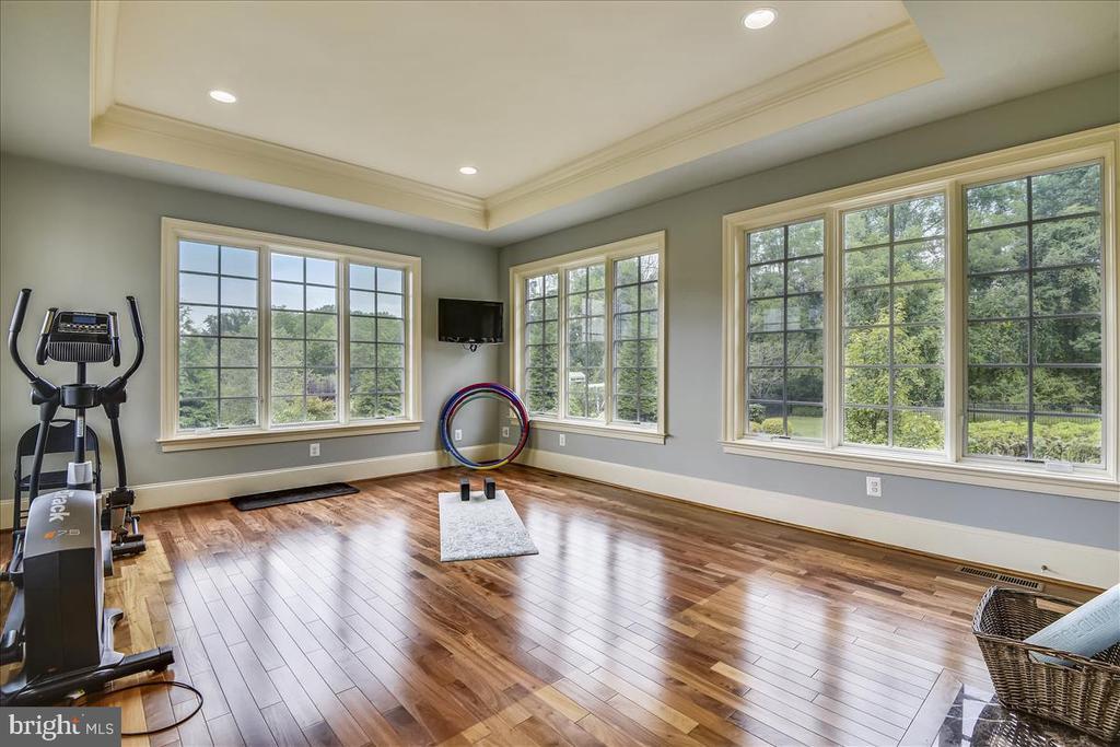 Main floor gym room with hardwoods - 12056 OPEN RUN RD, ELLICOTT CITY