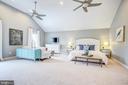 Master bedroom with vaulted ceiling & 2 fans - 47771 BRAWNER PL, POTOMAC FALLS