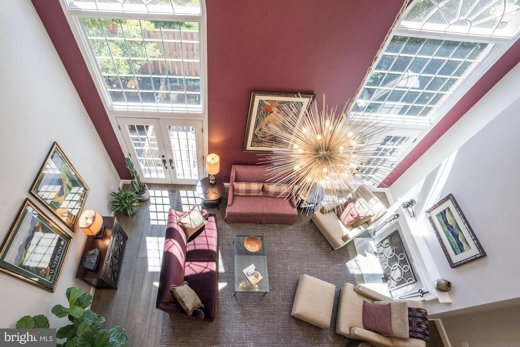 View of Living Room from 2nd Level - 3624 WINFIELD LN NW, WASHINGTON