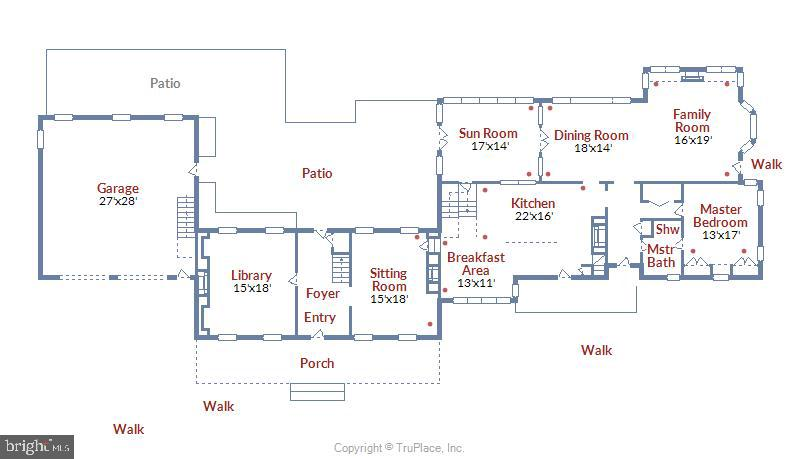 Main level floor plan - 19937 EVERGREEN MILLS RD, LEESBURG