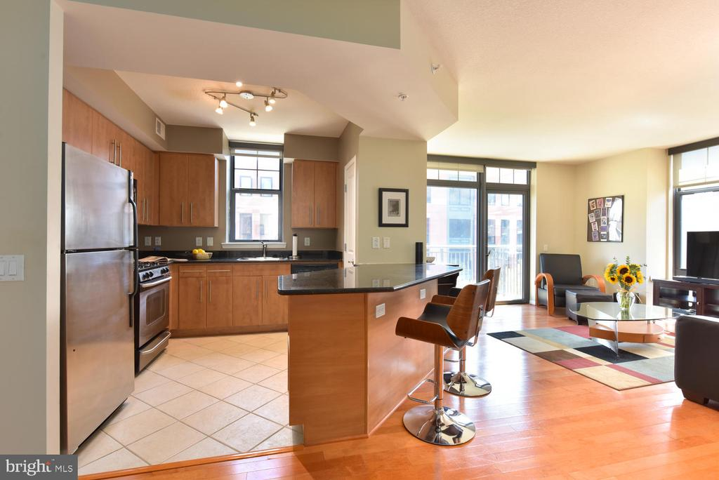 The open kitchen makes entertaining a breeze! - 1021 N GARFIELD ST #410, ARLINGTON
