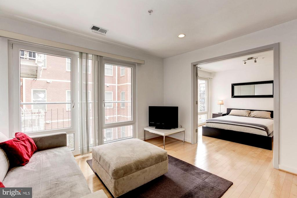 East facing floor to ceiling windows throughout - 1466 HARVARD ST NW #2B, WASHINGTON