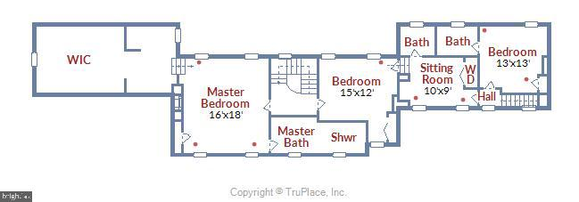 Upper level floor plan - 19937 EVERGREEN MILLS RD, LEESBURG