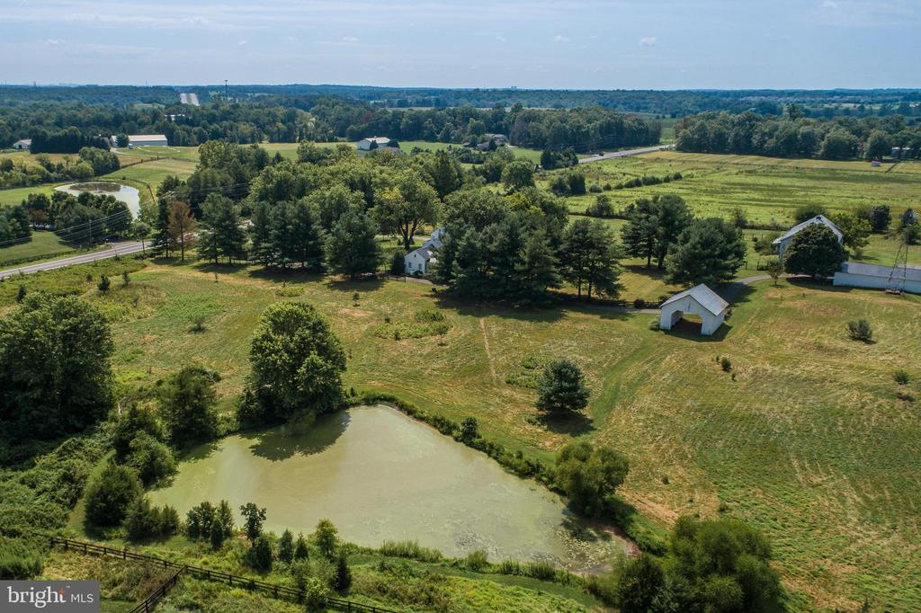 Aerial View of the pond on the property - 19937 EVERGREEN MILLS RD, LEESBURG