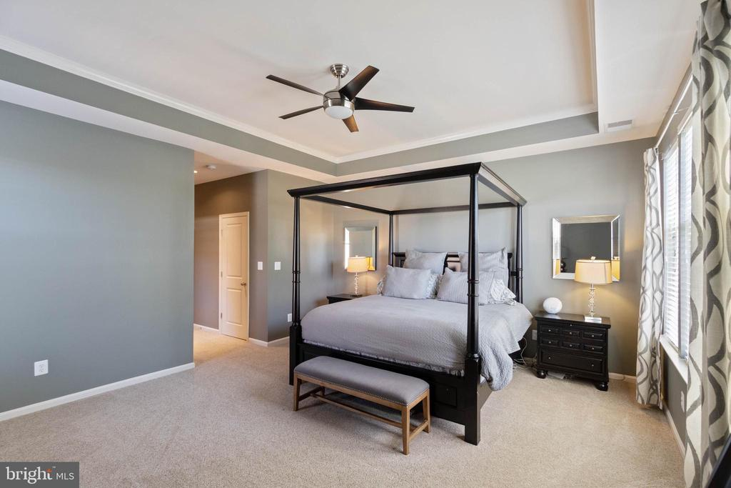 Spacious master bedroom with tray ceiling - 23337 MORNING WALK DR, BRAMBLETON