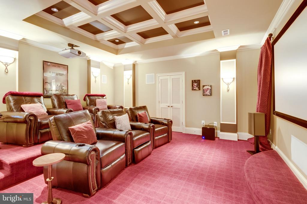 Home Theatre with Coffered Ceiling - 2479 OAKTON HILLS DR, OAKTON