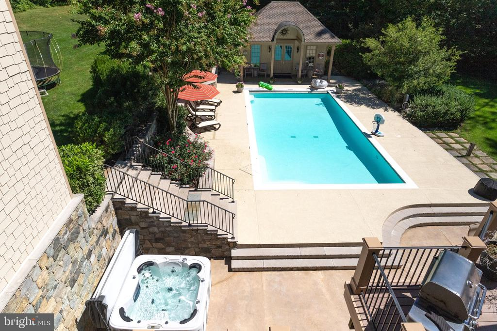 View of Poolhouse,  Hot Tub & Pool From Deck - 2479 OAKTON HILLS DR, OAKTON