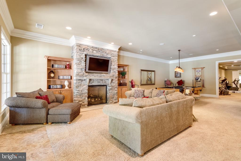 Lower Level Family Room with 4th Fireplace - 2479 OAKTON HILLS DR, OAKTON