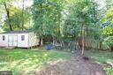 Back yard with large shed with electric - 88 BOUNDARY DR, STAFFORD
