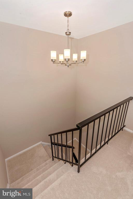 Stairs to finished walkout basement w/Fireplace - 18413 HALLMARK CT, GAITHERSBURG