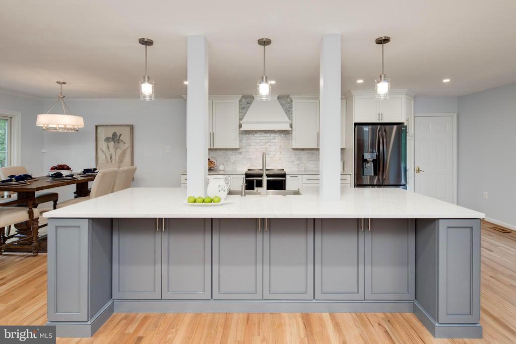 Renovated designer kitchen with massive island. - 11005 BIRDFOOT CT, RESTON