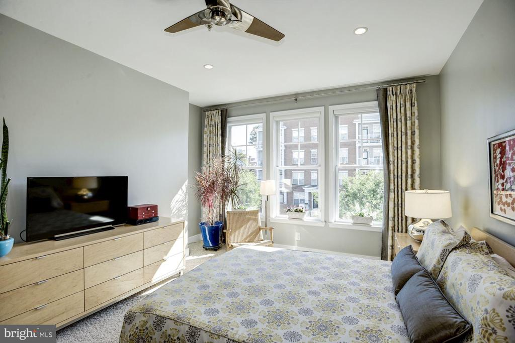 An abundance of sunlight fills master bedroom - 1418 N RHODES ST #B102, ARLINGTON
