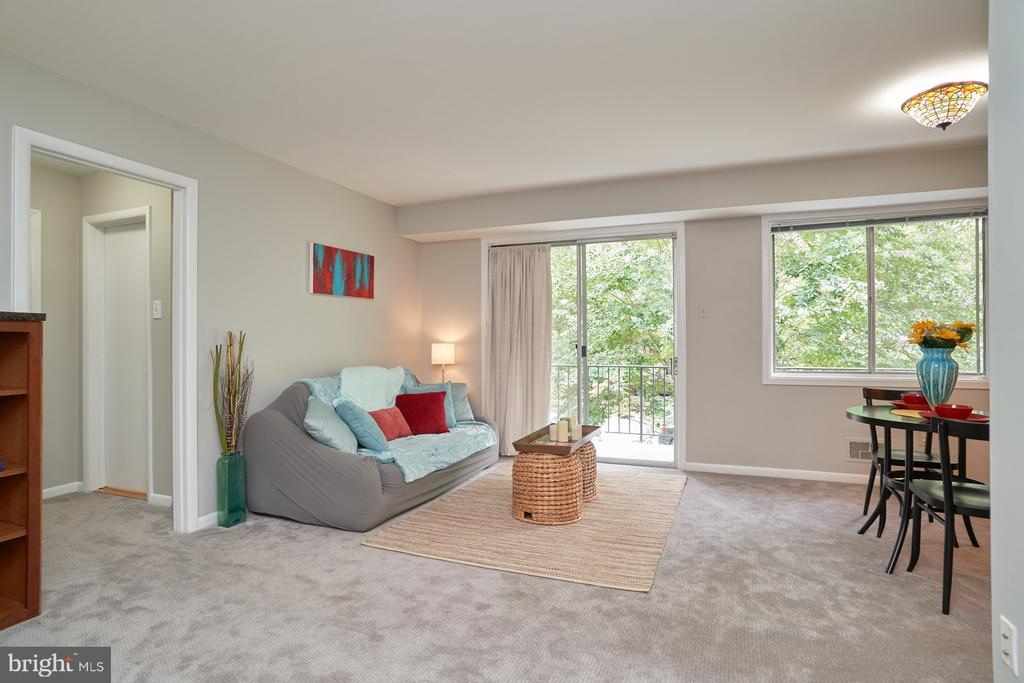 Living Area, view of Balcony - 10607 KENILWORTH AVE #K-104, BETHESDA