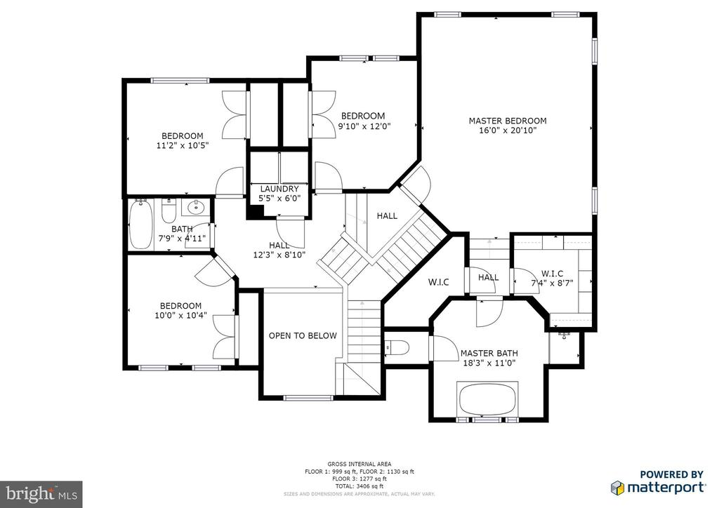 Upper level floorplan - 1308 FEATHERSTONE LN NE, LEESBURG
