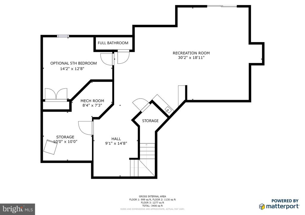 Lower level floorplan - 1308 FEATHERSTONE LN NE, LEESBURG