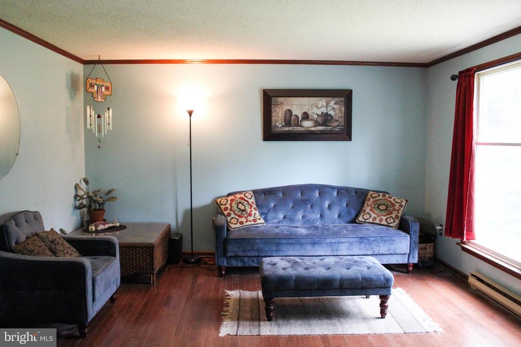 Living Room with Hardwood Floors - 7738 TALBOT RUN RD, MOUNT AIRY