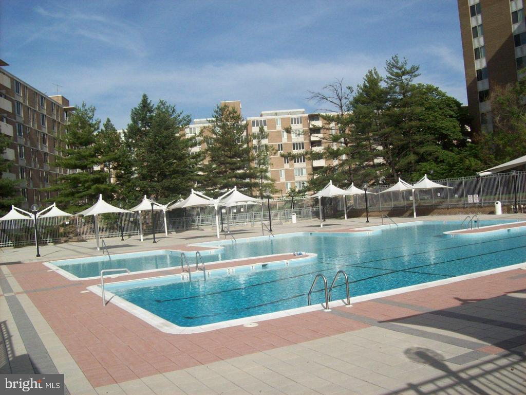 Large, shared condo pool in front of building - 2939 VAN NESS ST NW #726, WASHINGTON