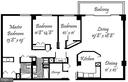 Floor Plan - 1,710 Sq. Ft. + 6'x20' Balcony - 3800 FAIRFAX DR #704, ARLINGTON