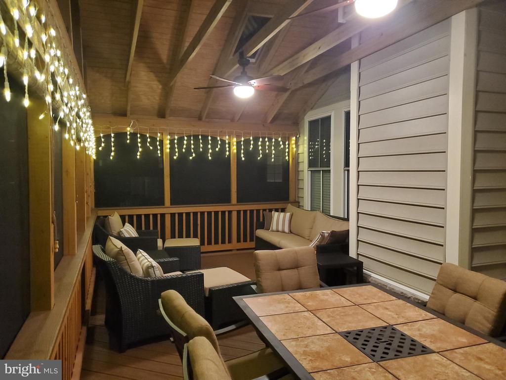 Rear porch at night - 10828 HENRY ABBOTT RD, BRISTOW