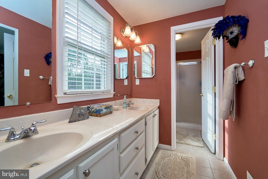 Master bathroom with double vanity & shower - 14515 WILLIAM CARR LN, CENTREVILLE
