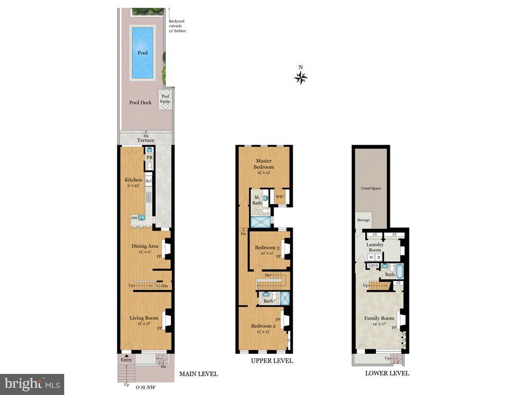 Floor plan rendering - 3137 O ST NW, WASHINGTON