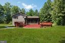 Back view shows the deck with the lovely yard - 105 ELEY RD, FREDERICKSBURG