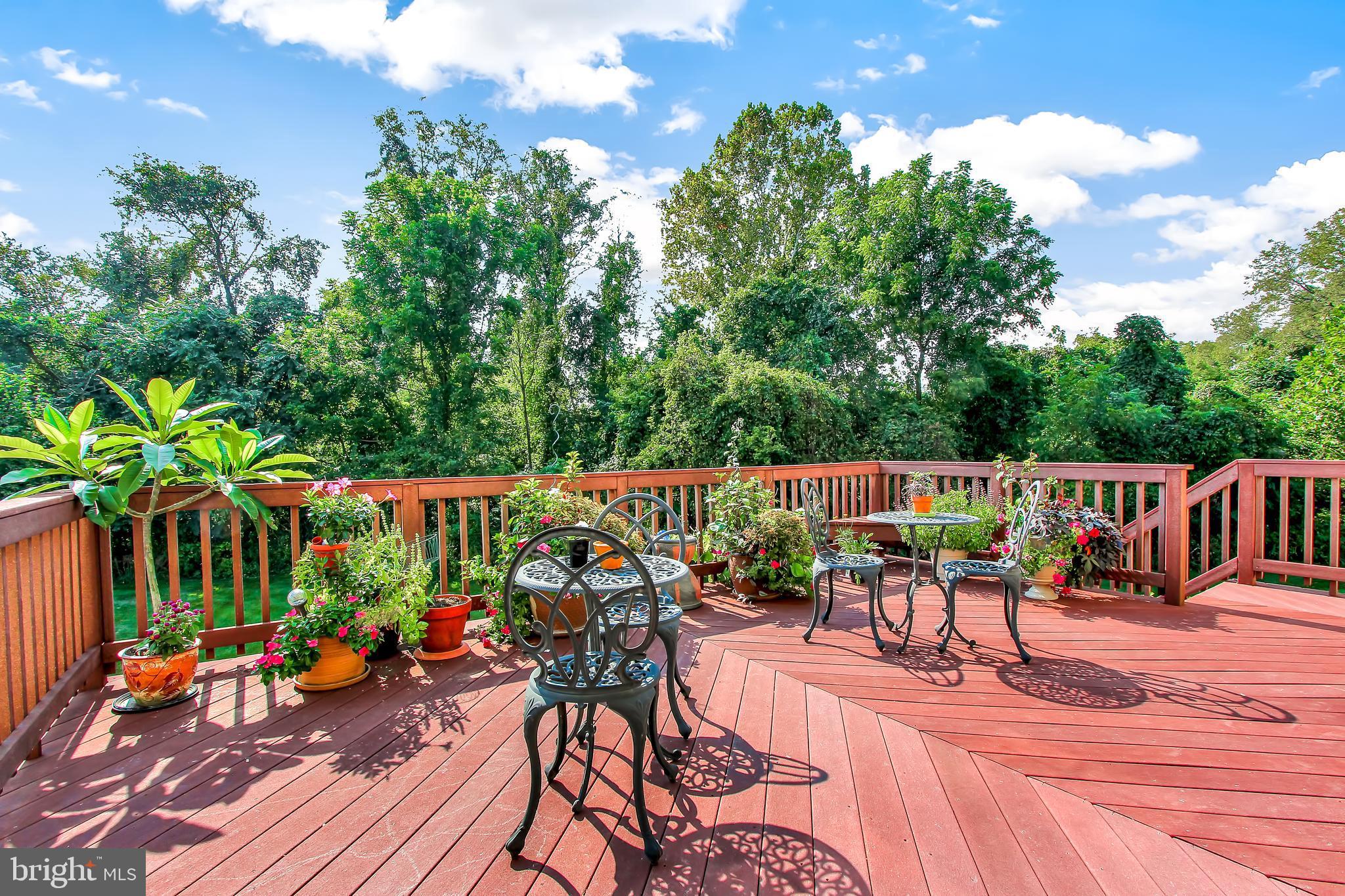 Outside deck, overlooking backyard and woods