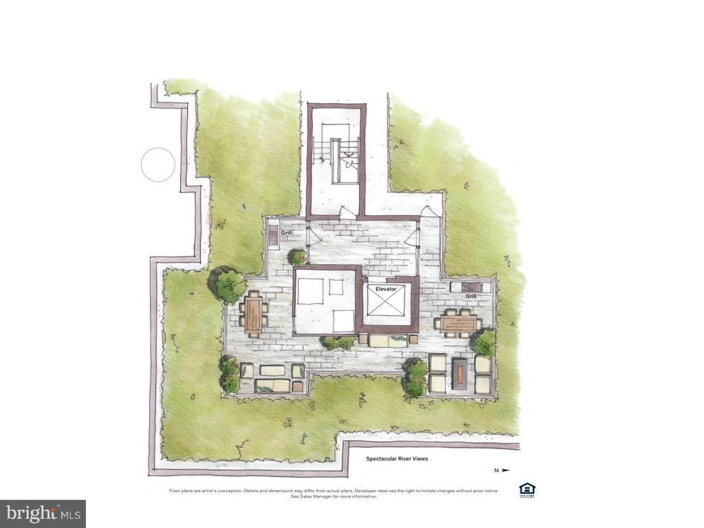 Common rooftop terrace rendering - 225 STRAND ST #304, ALEXANDRIA