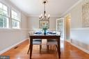 Gorgeous formal dining room with crown and chair - 5304 KAYWOOD CT, FAIRFAX