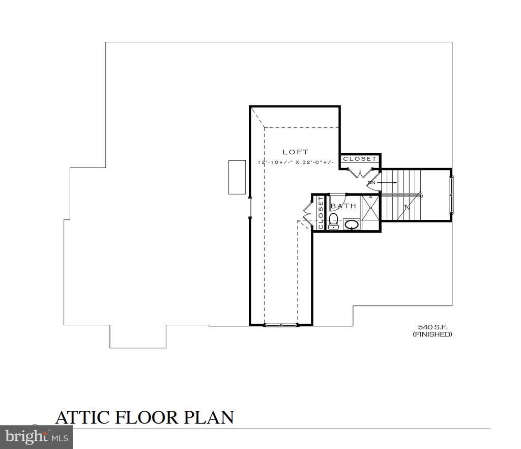 Attic/Loft floor plan - 3616 N UPLAND ST, ARLINGTON