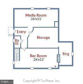 Lower Level Floor Plan - 912 W BRADDOCK RD, ALEXANDRIA