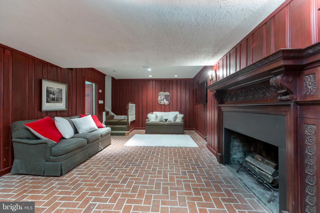 Lower Level with Brick Flooring and Fireplace - 2848 MCGILL TER NW, WASHINGTON