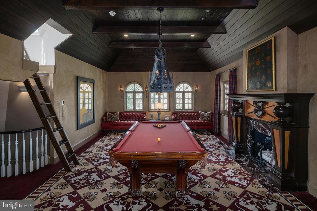 Bespoke ceiling, woodworking, marble fireplace - 733 N SPRING MILL RD, VILLANOVA