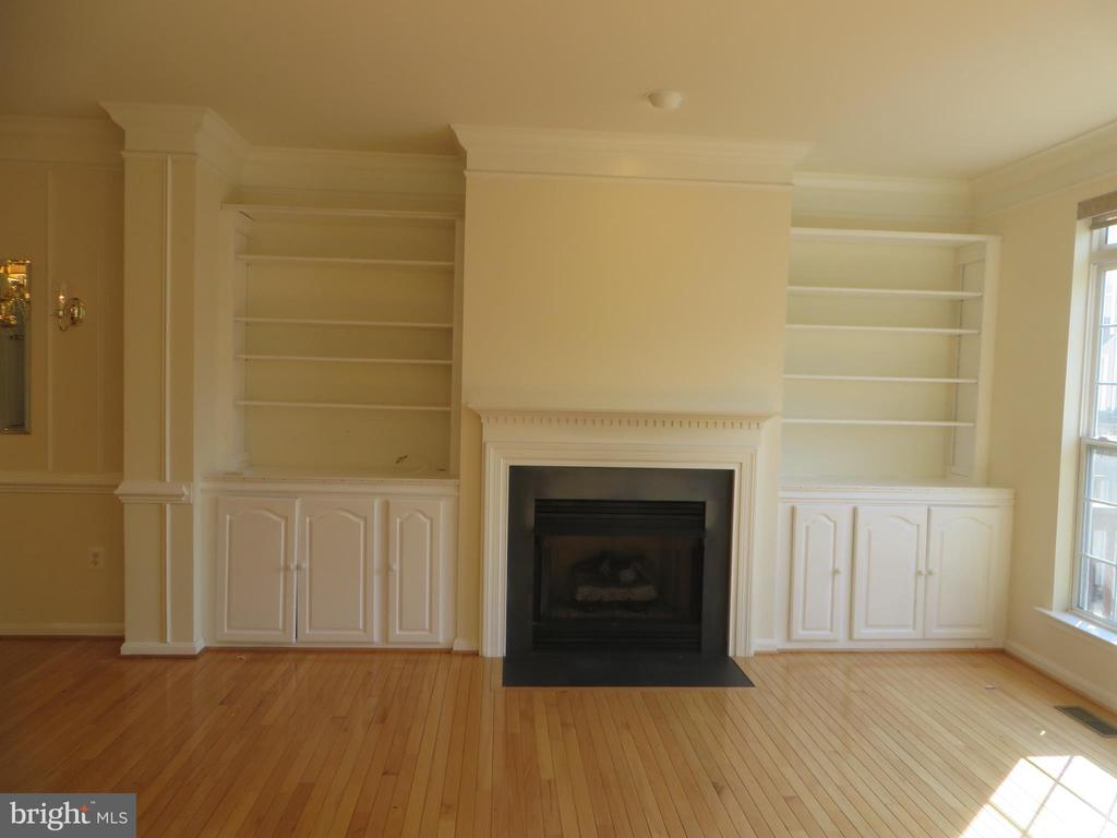 LIVING ROOM WITH GAS FIREPLACE AND CUSTOM BOOKCASE - 336 CAMERON STATION BLVD, ALEXANDRIA