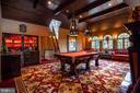 Billiards Room with custom vaulted wood ceiling - 733 N SPRING MILL RD, VILLANOVA