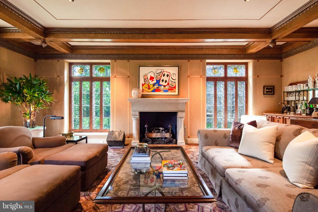 Family Room- wood beamed ceiling, stone fireplace - 733 N SPRING MILL RD, VILLANOVA