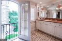 His bath with Juliette balcony overlooking gardens - 733 N SPRING MILL RD, VILLANOVA