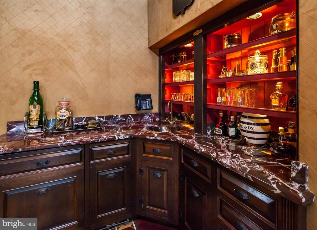 Custom wet bar, suede walls and built ins - 733 N SPRING MILL RD, VILLANOVA
