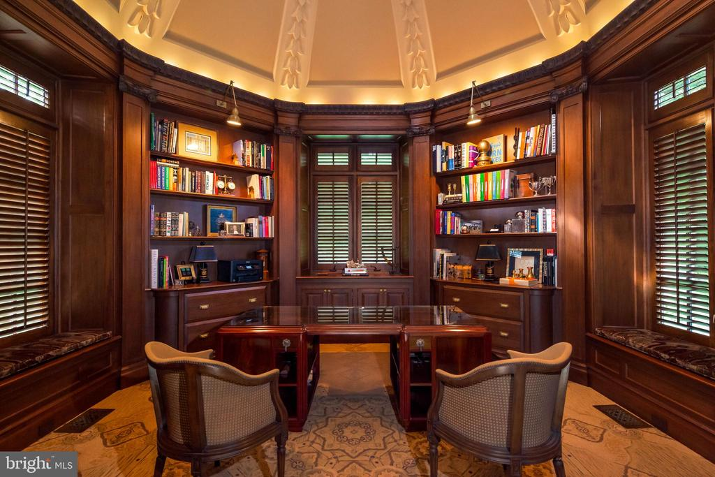 Library with domed ceiling and mahogany built ins - 733 N SPRING MILL RD, VILLANOVA