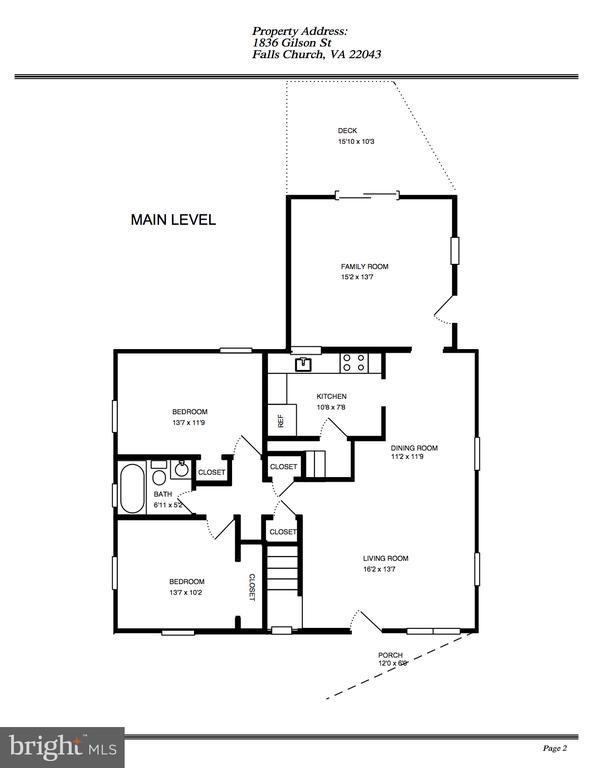 Main Level Floor Plan - 1836 GILSON ST, FALLS CHURCH