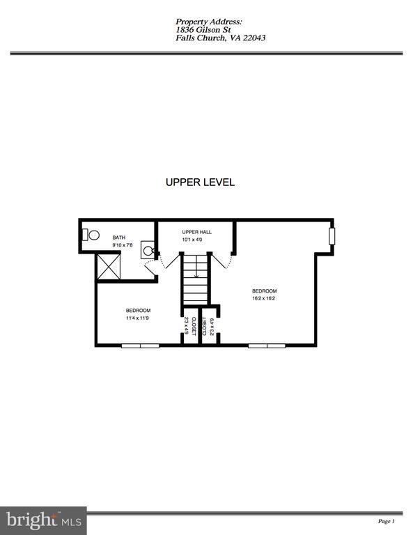 Upper Level Floor Plan - 1836 GILSON ST, FALLS CHURCH