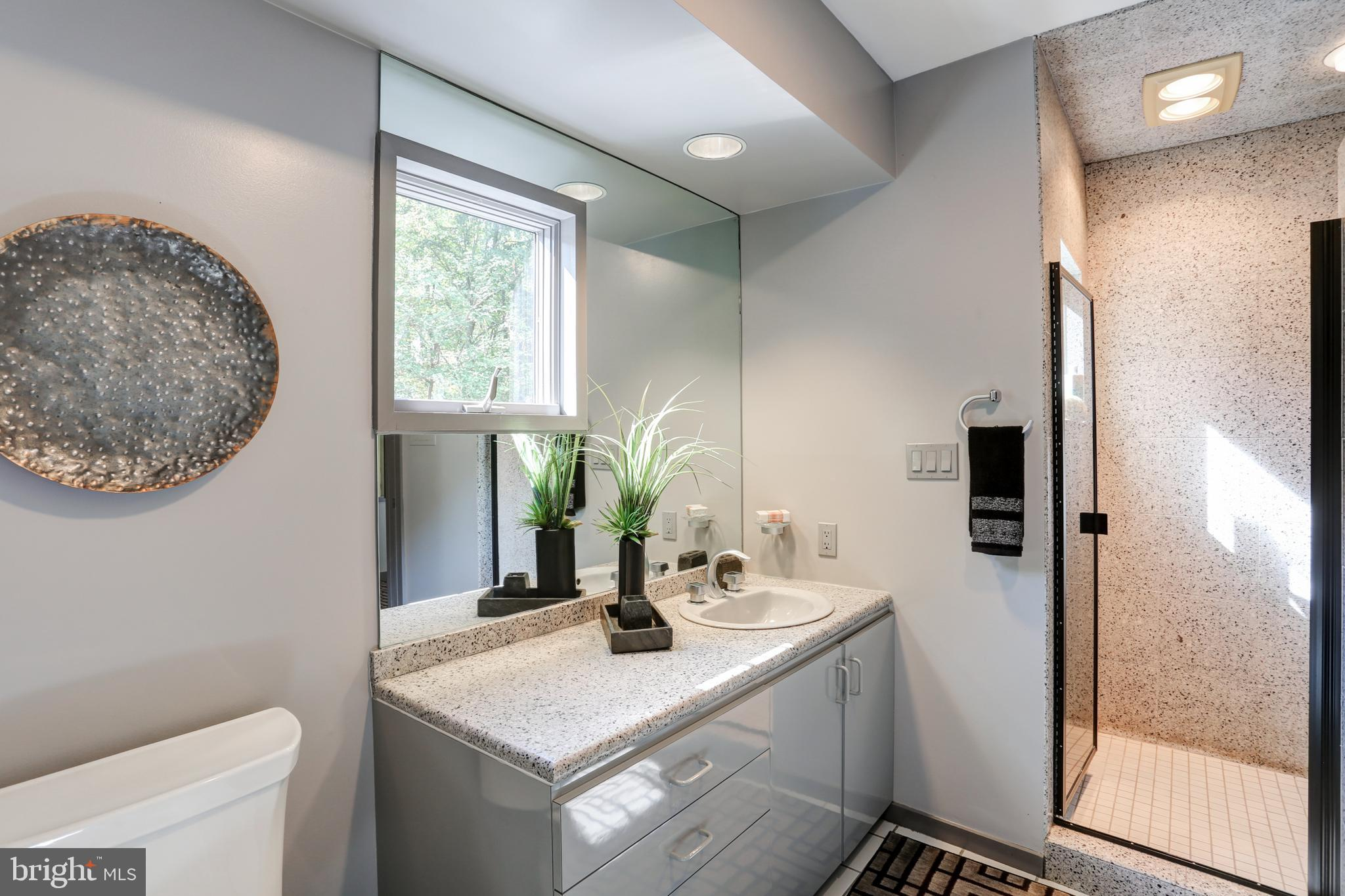 Second bath with walk-in shower off the office