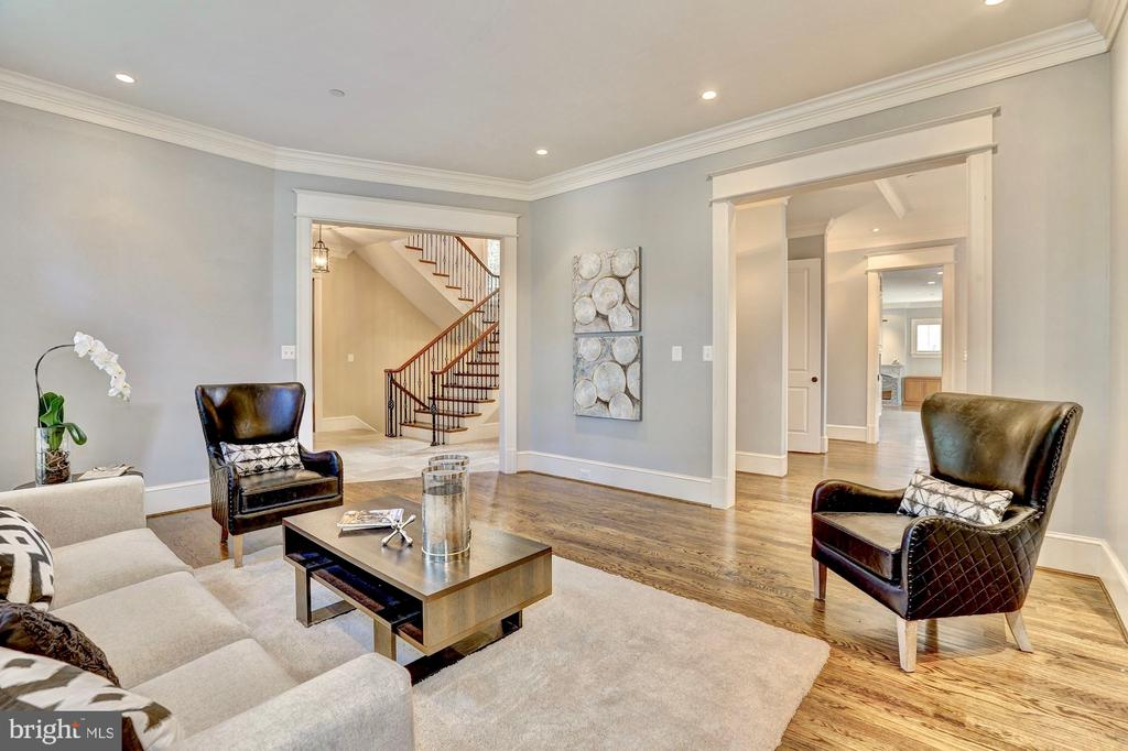 Living room flows to dining room. - 116 E MELROSE ST, CHEVY CHASE