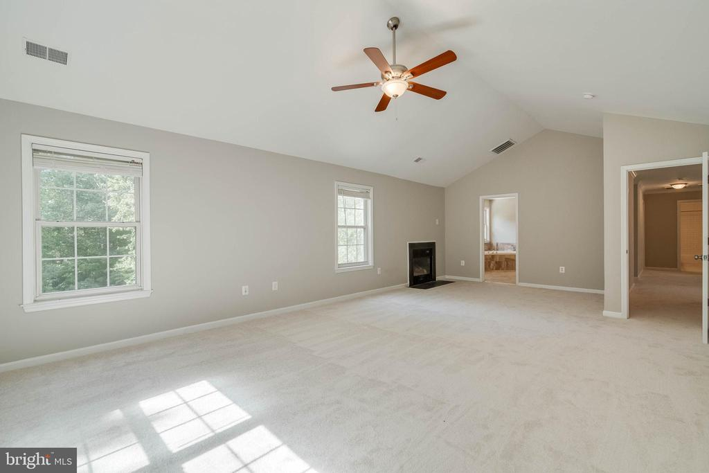 Vaulted ceiling, ceiling fam and fireplace - 6541 JEROME CT, MANASSAS