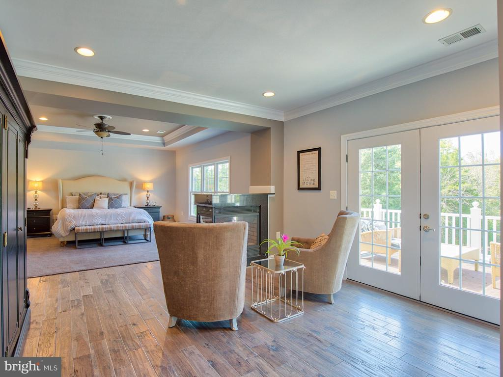 Master Suite 3 sided fireplace and access to deck - 23429 ROUNDUP PL, ALDIE