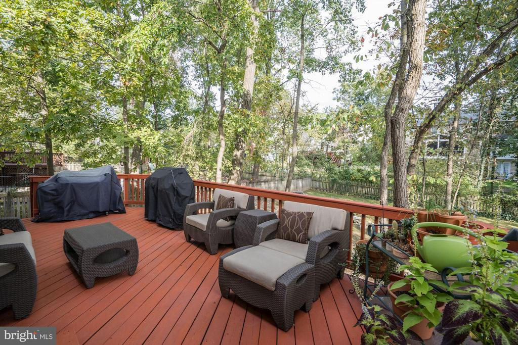 large deck overlooking backyard w stream - 25272 RIPLEYS FIELD DR, CHANTILLY