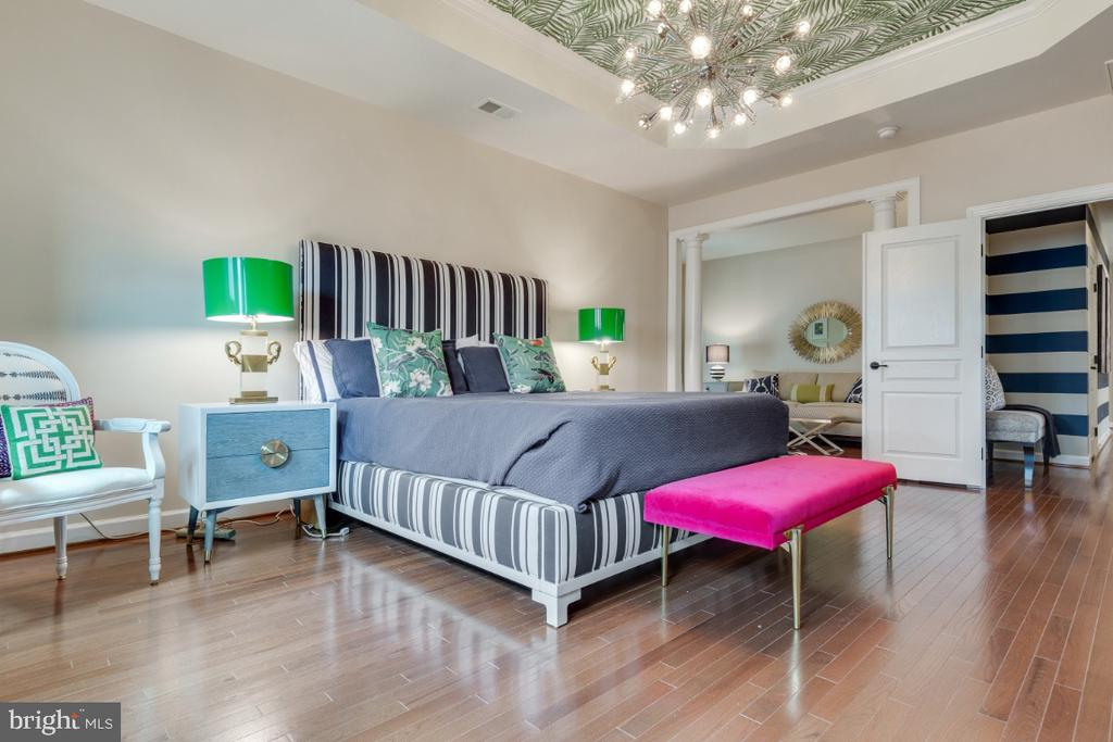 Kate Spade-inspired and styled master bedroom - 25401 JUBILANT DR, ALDIE